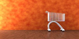 Home Shopping. 3D Illustration. A Shopping Cart in the Livingroom Stock Photo