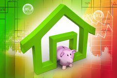 Home sign with piggy bank Stock Image