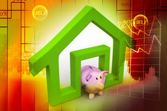 Home sign with piggy bank Stock Photography