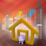 Home sign with piggy bank Royalty Free Stock Photo