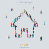 Home sign shape people crowd flat 3d isometric vector Royalty Free Stock Photography