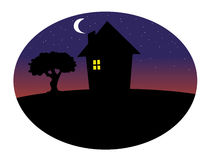 Home silhouette night background Stock Photos