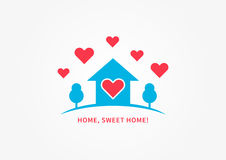 Home silhoutte with heart shapes vector illustration Stock Image