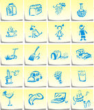 Home sing. Icons - homework. The stickers on the refrigerator Royalty Free Stock Photo