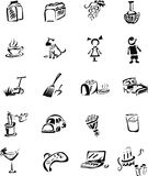 Home sing in black and white style. Icons - homework. In blac and white execution Stock Photography