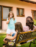 Home singing performance Royalty Free Stock Photos
