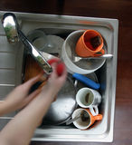 Home sink. Full of dirty dishes Royalty Free Stock Photo