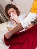 home sjukt för influensa Arkivfoto