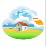 home skissar den lantliga husillustrationen för teckningen byn Arkivbilder