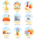 home släkt set för symbol objekt stock illustrationer