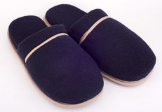 Home slippers. Home blue slippers stock photos