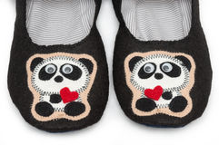 Home slippers. pandas image. Stock Image