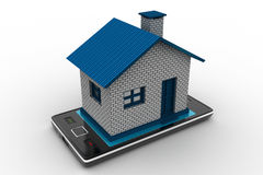 home with smart phone Stock Image