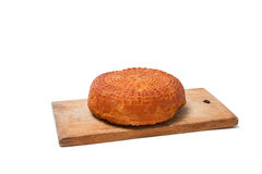 Home smoked rustic cheese isolated on a white background Royalty Free Stock Photo