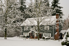 Home with snow and trees in winter Royalty Free Stock Photo