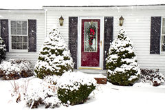 Home in Snowstorm Royalty Free Stock Photos