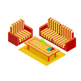 Home sofa and armchair with a coffee table isometric Stock Photo
