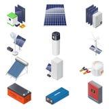 Home solar energy equipment isometric icon set Stock Photos