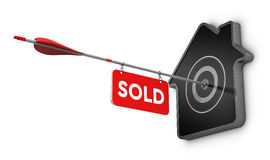 Home Sold Sign Over White Background, Real Estate Concept. 3D illustration of an arrow and sold sign hitting the center of a home shaped target, Real estate Stock Image