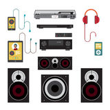 Home sound system. Home stereo flat vector illustration Stock Image