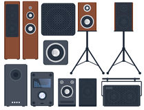 Home sound system stereo flat vector music loudspeakers player subwoofer equipment technology. Stock Images