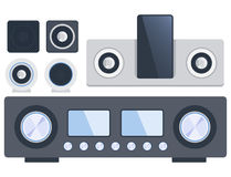 Home sound system stereo flat vector music loudspeakers player subwoofer equipment technology. Royalty Free Stock Photos