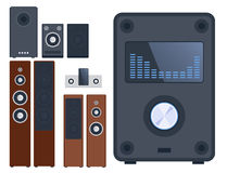 Home sound system stereo flat vector music loudspeakers player subwoofer equipment technology. Royalty Free Stock Image