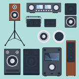Home sound system stereo flat vector music loudspeakers player subwoofer equipment technology. Stock Image