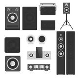 Home sound system stereo flat vector music loudspeakers player subwoofer equipment technology. Stock Photography