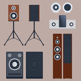 Home sound system stereo flat vector music loudspeakers player subwoofer equipment technology. Stock Photos