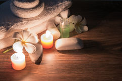 A home spa with soap and candles royalty free stock photography