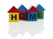 HOME spelled with alphabet building blocks Royalty Free Stock Photography