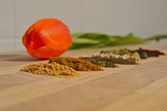 Home spices. In a wood at home royalty free stock photos