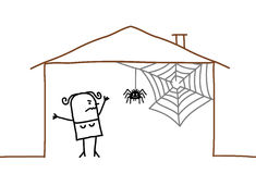 home and spider web Stock Photos