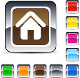 Home square button. Home glossy square web buttons royalty free illustration