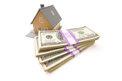 Home and Stacks of Money Isolated Stock Photography