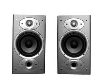 Home stereo speakers. Two stereo home theater speakers isolated on white royalty free stock images