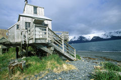 Home on stilts on water,  Seward, Alaska Stock Photo