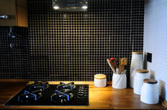 Home Stove, Wooden Counter Detail, Beautiful Kitchen Stock Photos