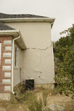 Home Structural Damage. Shifting earth under the foundation of this new home caused major structural damage to the walls, floors, and windows of this beautiful Royalty Free Stock Images