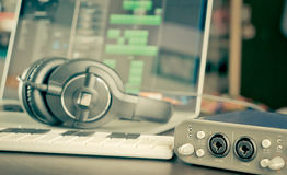 Home studio Computer music work station Royalty Free Stock Photography