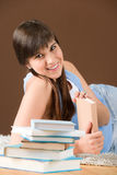 Home study - woman teenager read book Stock Photo