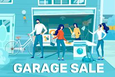 Free Home Stuff Garage Sale Flat Vector Promo Banner Royalty Free Stock Image - 166794646