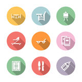 Home stuff icon set color with shadow Royalty Free Stock Images