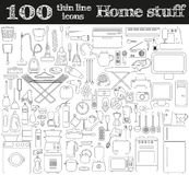 Home stuff icons. Set of 100 objects in thin line style. Stock Photos