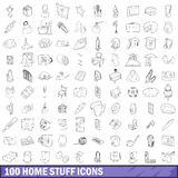 100 home stuff icons set, outline style. 100 home stuff icons set in outline style for any design vector illustration Royalty Free Stock Image