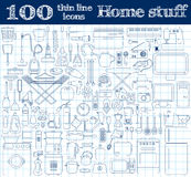Home stuff icons. Set of 100 thin line objects in blue colors on notebook. Royalty Free Stock Photo