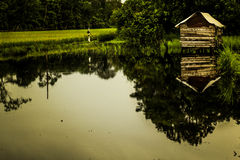 Home sweat hone. A small house in the center of lake Stock Photo