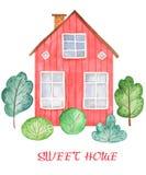home sweet η διακοσμητική εικόνα απεικόνισης πετάγματος ραμφών το κομμάτι εγγράφου της καταπίνει το watercolor διανυσματική απεικόνιση