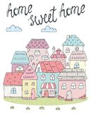 Home Sweet Home card. Hand Drawn colorful houses. vector illustration stock illustration